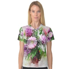 Flowers Roses Bouquet Art Nature V Neck Sport Mesh Tee