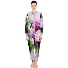 Flowers Roses Bouquet Art Nature Onepiece Jumpsuit (ladies)