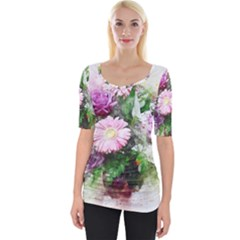 Flowers Roses Bouquet Art Nature Wide Neckline Tee