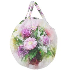Flowers Roses Bouquet Art Nature Giant Round Zipper Tote