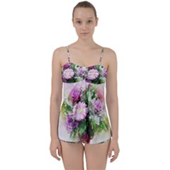 Flowers Roses Bouquet Art Nature Babydoll Tankini Set