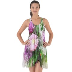 Flowers Roses Bouquet Art Nature Show Some Back Chiffon Dress