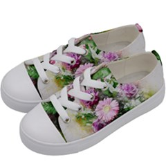 Flowers Roses Bouquet Art Nature Kids  Low Top Canvas Sneakers by Nexatart
