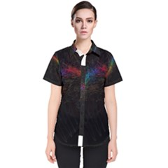 Background Light Glow Lines Colors Women s Short Sleeve Shirt