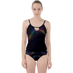 Background Light Glow Lines Colors Cut Out Top Tankini Set