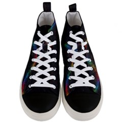 Background Light Glow Lines Colors Men s Mid Top Canvas Sneakers