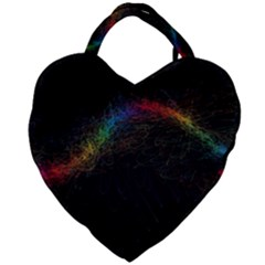 Background Light Glow Lines Colors Giant Heart Shaped Tote by Nexatart