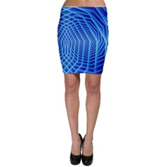 Blue Background Light Glow Abstract Art Bodycon Skirt