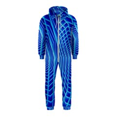 Blue Background Light Glow Abstract Art Hooded Jumpsuit (kids)