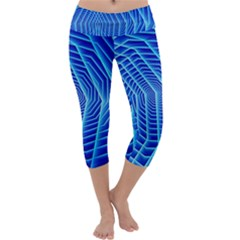Blue Background Light Glow Abstract Art Capri Yoga Leggings