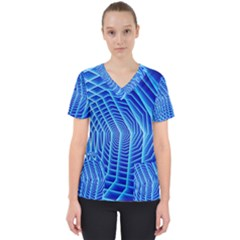 Blue Background Light Glow Abstract Art Scrub Top