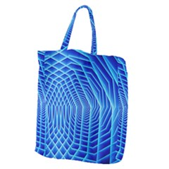 Blue Background Light Glow Abstract Art Giant Grocery Zipper Tote