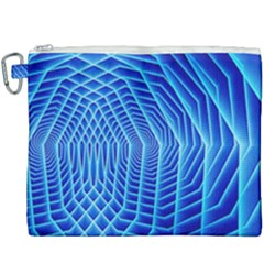 Blue Background Light Glow Abstract Art Canvas Cosmetic Bag (xxxl) by Nexatart