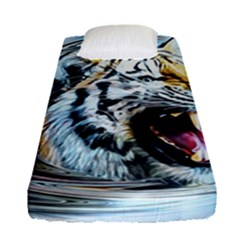 Tiger Animal Art Swirl Decorative Fitted Sheet (single Size) by Nexatart