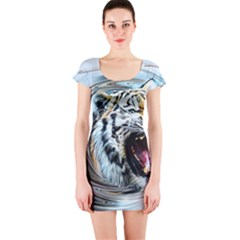 Tiger Animal Art Swirl Decorative Short Sleeve Bodycon Dress