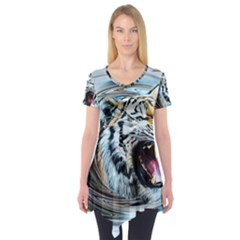 Tiger Animal Art Swirl Decorative Short Sleeve Tunic