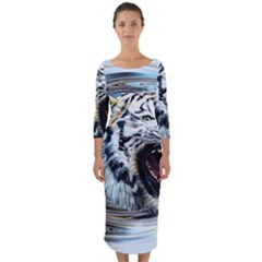 Tiger Animal Art Swirl Decorative Quarter Sleeve Midi Bodycon Dress