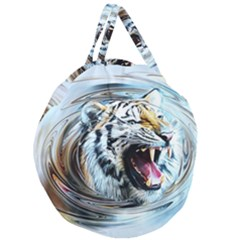 Tiger Animal Art Swirl Decorative Giant Round Zipper Tote