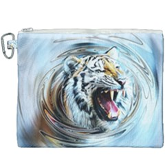 Tiger Animal Art Swirl Decorative Canvas Cosmetic Bag (xxxl)