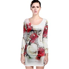 Flowers Roses Bouquet Art Nature Long Sleeve Bodycon Dress