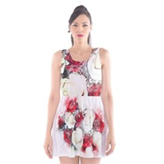 Flowers Roses Bouquet Art Nature Scoop Neck Skater Dress