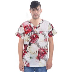 Flowers Roses Bouquet Art Nature Men s V Neck Scrub Top