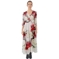 Flowers Roses Bouquet Art Nature Button Up Boho Maxi Dress by Nexatart