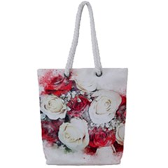Flowers Roses Bouquet Art Nature Full Print Rope Handle Tote (small)