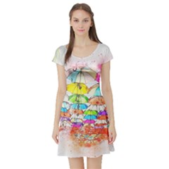Umbrella Art Abstract Watercolor Short Sleeve Skater Dress