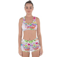 Umbrella Art Abstract Watercolor Racerback Boyleg Bikini Set