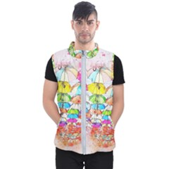 Umbrella Art Abstract Watercolor Men s Puffer Vest