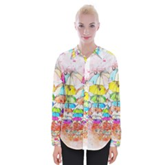 Umbrella Art Abstract Watercolor Womens Long Sleeve Shirt