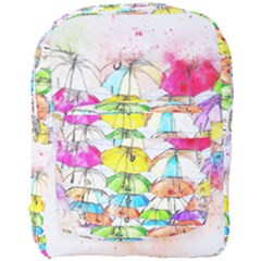 Umbrella Art Abstract Watercolor Full Print Backpack by Nexatart