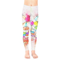 Umbrella Art Abstract Watercolor Kids  Legging