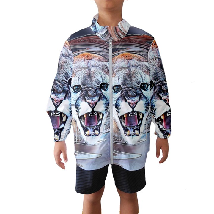 Cougar Animal Art Swirl Decorative Wind Breaker (Kids)