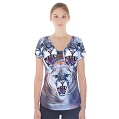 Cougar Animal Art Swirl Decorative Short Sleeve Front Detail Top