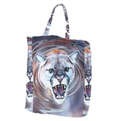 Cougar Animal Art Swirl Decorative Giant Grocery Zipper Tote