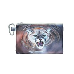 Cougar Animal Art Swirl Decorative Canvas Cosmetic Bag (small) by Nexatart
