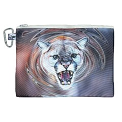 Cougar Animal Art Swirl Decorative Canvas Cosmetic Bag (xl) by Nexatart