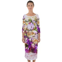 Flowers Bouquet Art Nature Quarter Sleeve Midi Bodycon Dress by Nexatart
