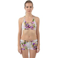 Flowers Bouquet Art Nature Back Web Sports Bra Set