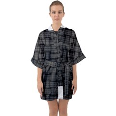 Background Weaving Black Metal Quarter Sleeve Kimono Robe