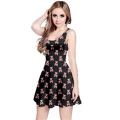 Yorkie Dog Skull And Crossbones Pink Reversible Sleeveless Dress by treegold