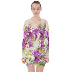 Flowers Bouquet Art Nature V Neck Bodycon Long Sleeve Dress