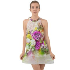 Flowers Bouquet Art Nature Halter Tie Back Chiffon Dress by Nexatart