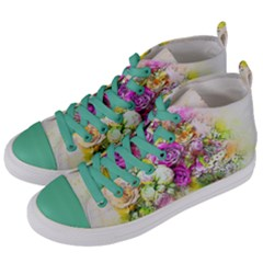 Flowers Bouquet Art Nature Women s Mid Top Canvas Sneakers by Nexatart