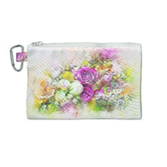 Flowers Bouquet Art Nature Canvas Cosmetic Bag (medium) by Nexatart