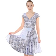Architecture Building Design Cap Sleeve Front Wrap Midi Dress