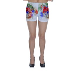 Flowers Bouquet Art Nature Skinny Shorts by Nexatart