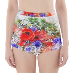 Flowers Bouquet Art Nature High Waisted Bikini Bottoms by Nexatart